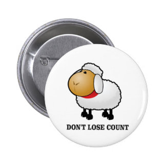 dont lose count sheep 6 cm round badge