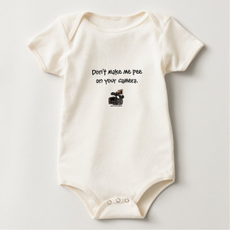 """Don't make me pee on your camera."" Baby Bodysuit"