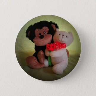 Don't monkey with my teddy bear 6 cm round badge