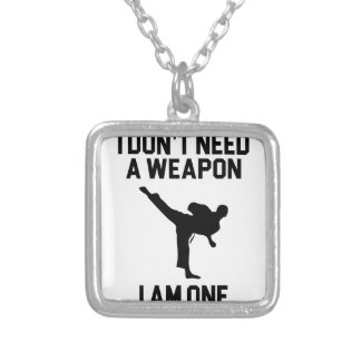 Don't Need a Weapon Silver Plated Necklace