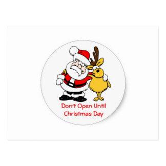Don't Open Til Christmas Postcard