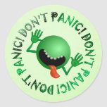 don't panic bug round stickers