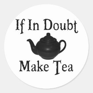 Don't panic - make tea! classic round sticker