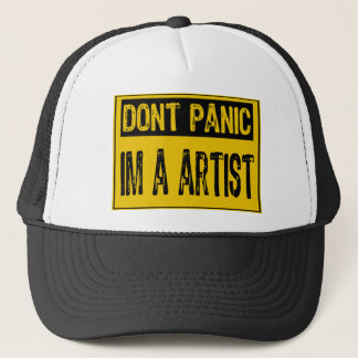 Don't Panic Sign- I'm A Artist - Yellow/Black Trucker Hat
