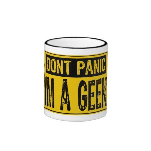 Don't Panic Sign- Im A Geek -Yellow/Black Ringer Mug