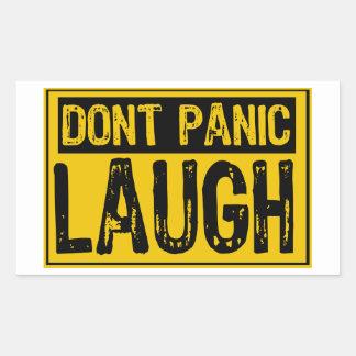 Don't Panic Sign- Laugh-Yellow/Black Rectangular Sticker