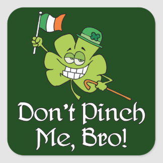 Dont Pinch Me Bro Shamrock Square Stickers