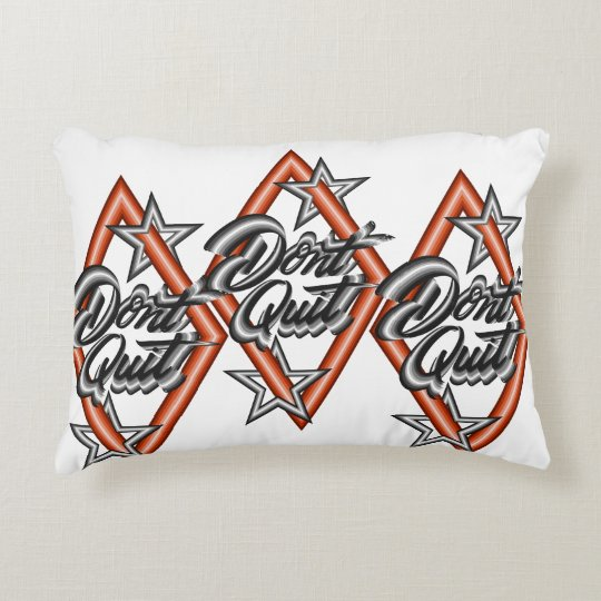 Don't quit in diamond with stars decorative cushion