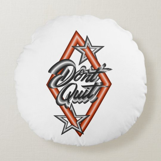 Don't quit in diamond with stars round cushion