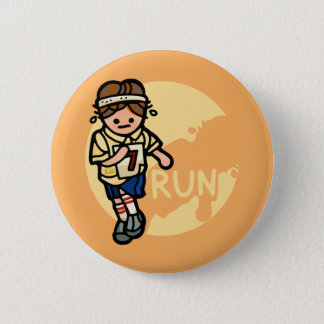 don't run with pins. 6 cm round badge