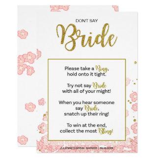 Don't Say Bride Bridal Shower Ring Game | Pink Gol Card
