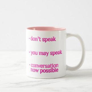 Don't Speak Coffee Addict Two-Tone Mug