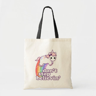 Don't Stop Believin' in Unicorns Tote Bag