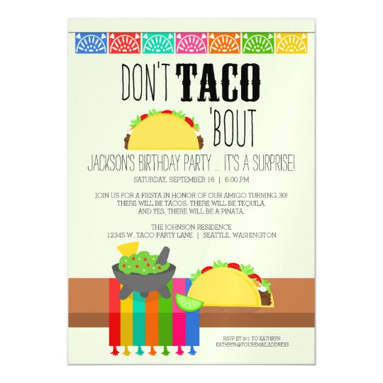 Dont taco bout surprise birthday party magnetic invitation dont taco bout surprise birthday party magnetic invitation filmwisefo