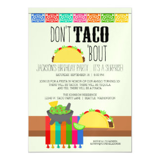Don't Taco 'Bout Surprise Birthday Party Magnetic Invitations