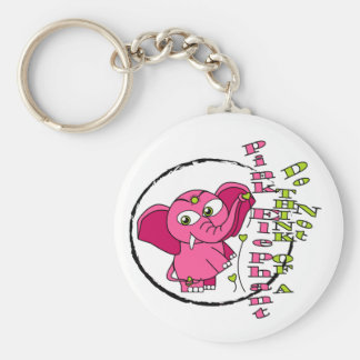 Don't think of a pink elephant basic round button key ring