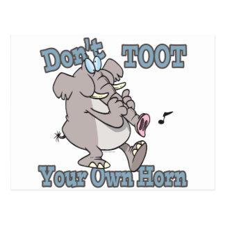 dont toot your own horn elephant cartoon postcard