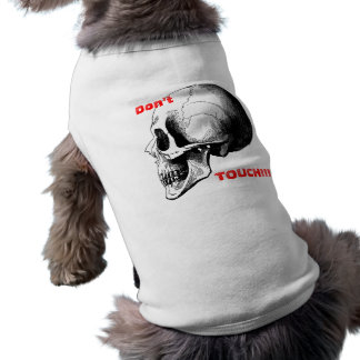 Don't Touch Skull Doggie Ribbed Tank Top Sleeveless Dog Shirt