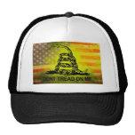 Don't Tread On Me Gadsden Flag American Flag Trucker Hats