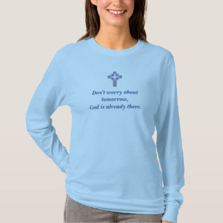Don't Worry Basic Long Sleeve w/Blue Flared Cross T-Shirt