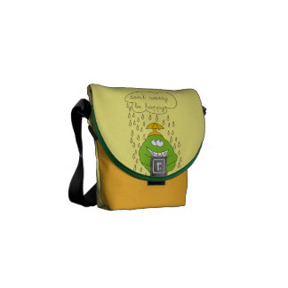 Don't Worry Be Happy Funny Creature in Rain Courier Bag