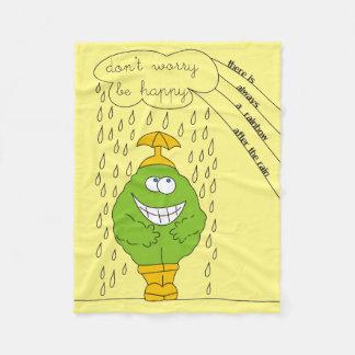 Don't Worry Be Happy Funny Creature in Rain Fleece Blanket