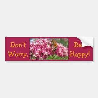 """""""Don't Worry, Bee Happy"""" Bee/Joe Pye Flower Car Bumper Sticker"""