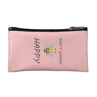 Don't worry bee happy with bee emoji cosmetic bag