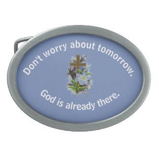 Don't Worry Belt Buckle w/Blue Flower Cross