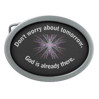 Don't Worry Belt Buckle w/Feather Cross