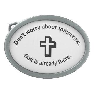 Don't Worry Belt Buckle w/Shadow Cross