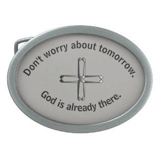 Don't Worry Belt Buckle w/Steel Cross