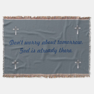 Don't Worry Blanket w/Blue Corner Crosses
