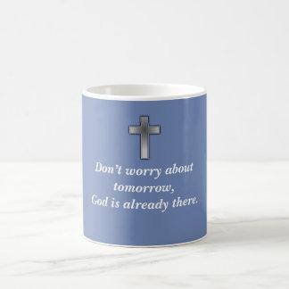 Don't Worry Coffee Mug w/Blue Cross