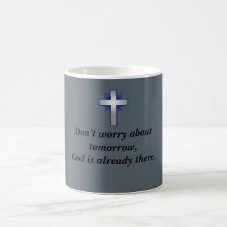 Don't Worry Coffee Mug w/Blue Flared Cross