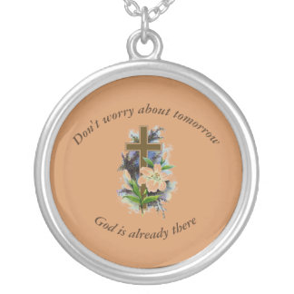 Don't Worry Necklace w/Blue Flower Cross