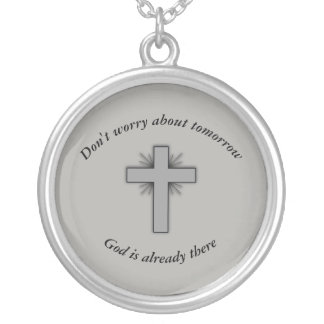 Don't Worry Necklace w/Gray Flared Cross