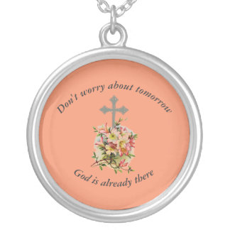 Don't Worry Necklace w/Pink Flower Cross