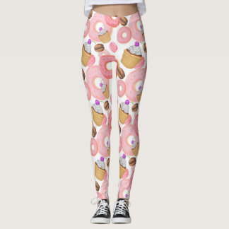 Donut and Cupcake Dessert Pattern Leggings
