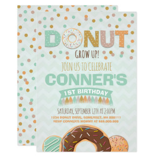 Donut Birthday Invitation Donut Grow Up Party