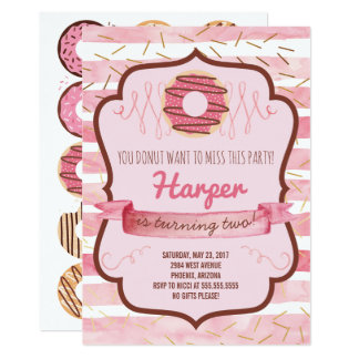 Donut Birthday Party Invitation for a Girl