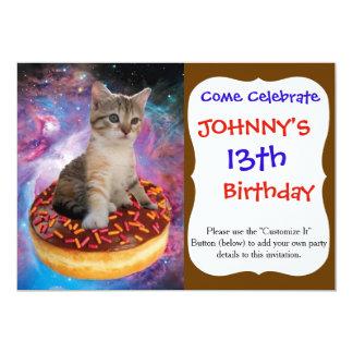 Donut cat-cat space-kitty-cute cats-pet-feline card