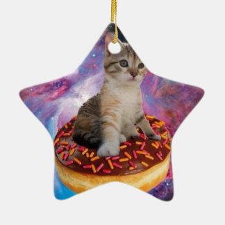 Donut cat-cat space-kitty-cute cats-pet-feline ceramic ornament