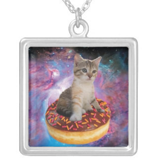 Donut cat-cat space-kitty-cute cats-pet-feline silver plated necklace