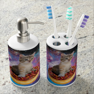 Donut cat-cat space-kitty-cute cats-pet-feline soap dispenser and toothbrush holder