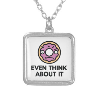 Donut Even Think About It Silver Plated Necklace