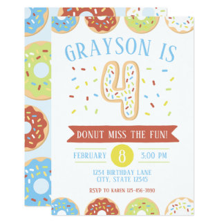 Donut Fourth Birthday Invitation