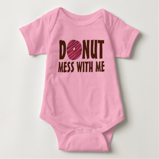 Donut Mess With Me Pink Frosted Doughnut Funny Baby Bodysuit