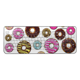 Donut Pattern, Colorful Donuts - Pink Blue Yellow Wireless Keyboard