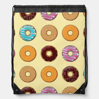 Donut Pattern on Yellow Drawstring Bag